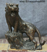 Collect Chinese Bronze Feng Shui 12 Zodiac Year Animal Tiger Beast Wealth Statue