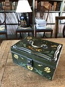 Antique French Toleware Document Box With Canalware And Brass Handle