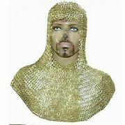 Collectibles Militaria Pre-1700 Flat Riveted 9mm Brass Chain Mail Hood Chainmail