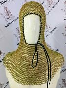 Chain Mail Coif Golden Polish 16 Swg Knight Coif Medieval Hood Larp Qualit