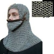 Halloween New Riveted Aluminum Hood With Leather Ventail Coif 18 G 10 Mm