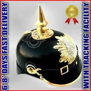 Wwi German Pickelhaube Prussian Leather Helmet Officer Collectible