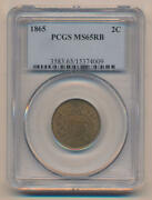 1865 Two Cent Piece Pcgs Ms65 Red Brown