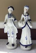Lot Of 2 Porcelain Victorian Style Figurines Of A Gentleman And A Lady