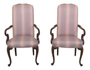 F30747ec Pair Queen Anne Mahogany Upholstered Library Chairs