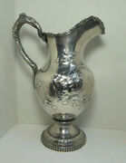 Antique William Gale And Son Ny Large Coin Silver Water Pitcher Grape Vine Design