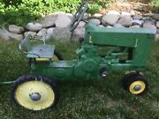 Vintage 1950andrsquos John Deere Pedal Tractor With Original Trailer