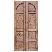 Large Antique Painted Pine Paneled Double Door 19th Century