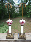 Antique Bohemian Cut To Cranberry And White Milk Glass Table Lamps 27.75 Egermann