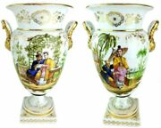 Pair Old Paris Porcelain French Vases With Chinese Figural Design C. 1860