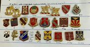 Lot Of 24 Us Army Artillery Field Crest Pin Vintage Beer Can Di Dui Unit Wwii