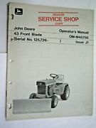 John Deere 110 And 112 Lawn And Garden Tractor 43 Front Blade Operator's Manual