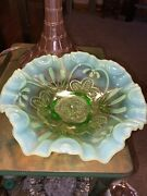 Antique 1908 Jefferson Meander Green Opalescent Glass Footed Bowl 9andrdquox 3andrdquo