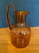 Vintage Kanawha Handcrafted Crackle Vases Pitcher Lot Of 3 Amber Brown Yellow Bl
