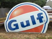 Huge 6and039-6x8and039 Vintage Gulf Gas Service Station Oil Sign Advertisingroof Topper