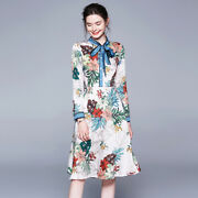 Womens Floral Printed Stand Collar Bow Knot Long Sleeves A Line Dress Ball Gown