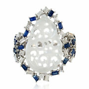 Carved Jade Gemstone Ring Baguette Diamond 18k White Gold Jewelry Size 6.75