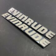 2x Vintage Johnson Evinrude Omc Outboard Motor Hp Engine Badge Plaque Alloy