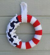 Hand Crocheted 10 Patriotic Wreath Yarnred White And Bluestars And Stripes
