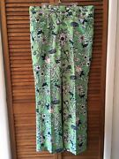 Vintage Lilly Pulitzer Mens Stuff Floral Pants Palm Beach Green 36 Roses Daisy