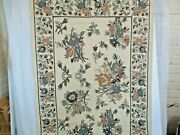 Large Crewel Chain Stitch Embroidery Art Floral Framed Ethan Allen 4 Ft X 6 Ft