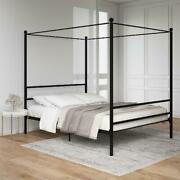 Canopy Bed Frame Queen Full Size Metal Platform Beds With Headboard Slatted
