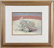 Fine Pablo Picasso And039and039bullfight Pochoir Hand Painted Coa Not Hand Signed 1924
