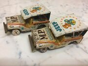 Vintage Set Of Two 1950's Military Police Jeep Friction Tin Litho Car Japan By S