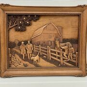 Kim Murray Vintage Wood Picture Walk In The Country Horse Farm 3d Carving Signed