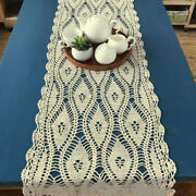 Vintage Hand Crochet Cotton Table Runner Lace Doilies Mat Dining Room Home Decor