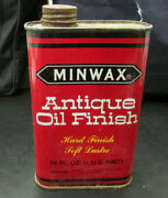 Vintage Minwax Antique Oil Finish Metal Tin Can Advertising Mancave Display Full