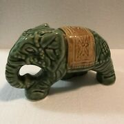 Vintage Green / Gold Ceramic Indian Elephant 6-1/2andrdquo Long X 3-5/8andrdquo Tall Figurine