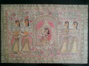 Impressive Antique Hindu Rice Paper/tapa Cloth Gouache Painting 37 By 27