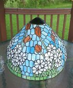Outstanding Antique Large Leaded Stained Glass Lamp Shade Tulips And Daisies