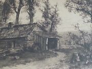 1800's Original Etching Birthplace Of Ulysses Grant Log Cabin 22×18 Signed