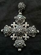 Large Antique Jerusalem Cross 950 Sterling Silver 3.5 Inches