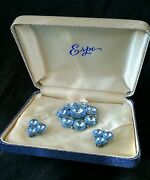 Vintage Weiss Jewelry Large Rhinestone Brooch And Earrings Cased Set Ca.1940and039s