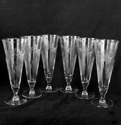 Elegant Antique Etched Glass 8.5 Juice Glasses Geese And Scirpus [set Of Six]