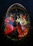 Vintage Russian Hand Painted Lacquer Egg By Golubeva R., 5 Inches