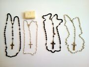 Lot 4 Rosary Religious Antique Beads And Grain Of Coffee