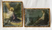 † 2 Antique Bubble Glass Jesus Christ In Gethsemane Praying Unique Glass Etching