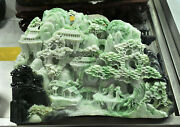 13 China Stone Jade Pine Mountain Tree House Old People Ancient Building Statue