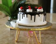 Handmade Vintage Marble Cake Stand Cake Server With Brass Stand Gold Foil Work