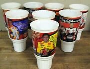 1999 Nascar Lot Of 8 Coca Cola Speedway Xl Plastic Drinking Driver Cups Glasses