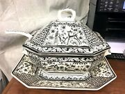 Real Ceramica Coimbra Made In Portugal Large Tureen W/ Underplate/tray And Ladle