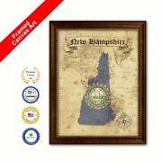 New Hampshire State Vintage Map Brown Framed Canvas Print Home Decor Wall Art