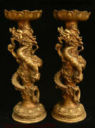 14 China Brass Dynasty Palace Dragon Loong Beast Candle Holder Candlestick Pair