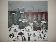 Original Huge Oil Painting Noted Artist James Downie Stockport Town Winter Snow