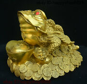 Chinese Copper Bronze Feng Shui Golden Toad Spittor Wealth Yuan Bao Coins Statue