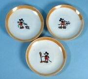 1930s Mickey Mouse 3 Glazed China Plates Tea Saucers White W/painted Rims Japan
